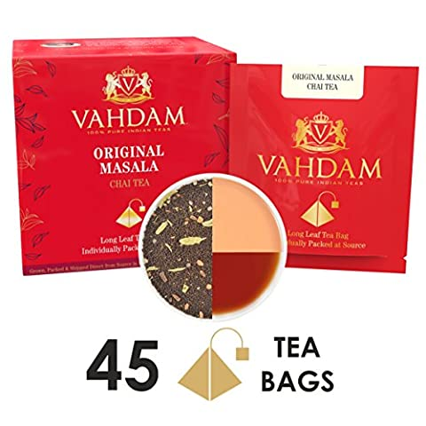 India's Original Masala Chai Tea Bags, 15 Tea Bags (PACK OF 3), 100% NATURAL SPICES & NO ADDED FLAVOURING - Blended & Packed in India - Black Tea, Cardamom, Cinnamon, Black Pepper & Clove