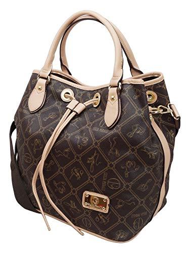 #407 Giulia Pieralli Damen Handtasche Damentasche Tasche Beuteltasche Kunstleder (Beige)