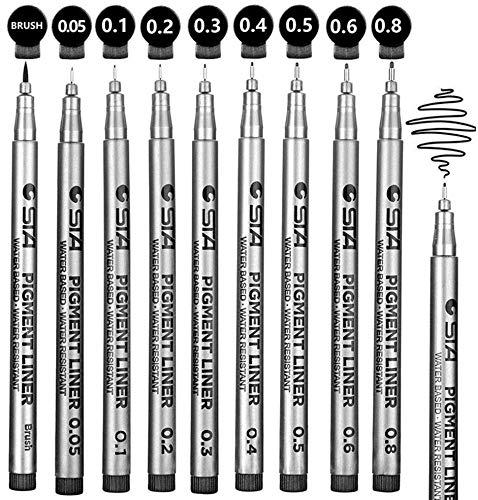 WCOCOW Penne FineLiner 24 pezzi colorati,Penne 0.4 mm Disegno Journal Poroso Pennarelli a punta fine perfetto