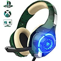 Gaming Headset for PS4 PC Xbox one, Beexcellent Stereo Sound Over Ear Headphones with Noise Reduction Microphone Volume Control and LED Light for Laptop Tablet Mac iPad