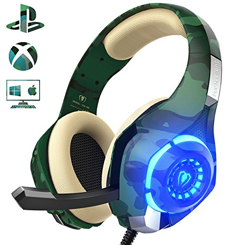 Gaming Headset für PS4 PC, Beexcellent Super Komfortable Stereo Bass 3.5mm LED Camouflage Kopfhörer mit Mikrofon für Xbox One, Laptops, Mac, Tablet und Smartphone (Gaming-die Welt)