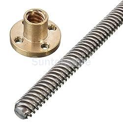 Generic 3D Printer T8 Lead Threaded Screw Rod Linear Rail Bar Shaft&Brass Nut 600mm