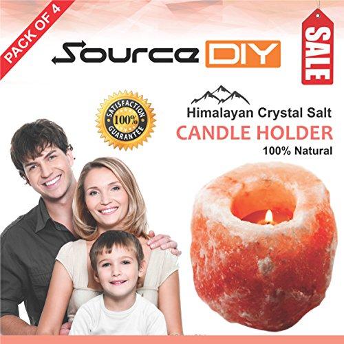 Confezione di 4portacandele sale dell' Himalaya naturale rosa cristallo di rocca. 100% Premium e qualità SourceDIY®, natur, Confezione da 4