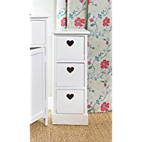 White Wood Storage Unit Drawers With Heart Cut Out