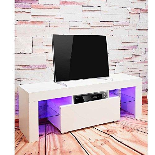 Vibrant Globe Moderne Meuble TV Meuble TV Support TV Blanc Mat et Blanc Brillant + LED Light