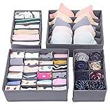 SONGMICS Aufbewahrungsbox für Unterwäsche, Schublade Organizer Kleiderschrankschubladen Divider für Socken, BHS und Krawatten, Faltbox Stoffbox für Schrank 4er Set Grau RUS04GY