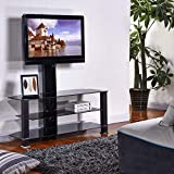 Cantilever Glass TV Stand with Bracket for 32 to 55 inches Plasma LCD TV Black Tube