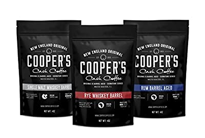 Cooper's Cask Coffee Whiskey & Rum Barrel Aged Coffee Box Set, 3 Bags , Coffee Sampler Set - Single Origin Sumatra Whiskey, Ethiopian Rye, Rwanda Rum Roasted Coffee Beans from Cooper's Cask Coffee
