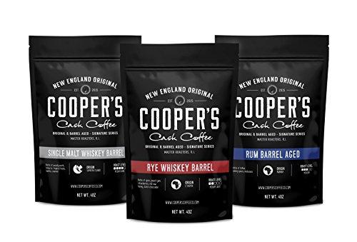 Cooper's Cask Coffee Whisky & Rum Fass Alter Kaffee Boden Bean Box-Set, 3 Säcke Kaffee Sampler Set, Ruanda Rum Gerösteten Kaffeebohnen