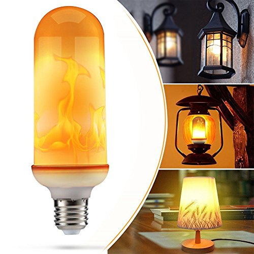 ZAK168Flamme Effekt Glühbirne, E279W LED Glühbirne Dynamic beweglichen flackernde Flamme Glühbirne, 1800K-3Flame Modi Home Hotel Festival Dekoration, weiß, e27