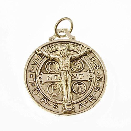 St. Benedikt Silber Runder Rosenkranz Perlen Medaille Anhänger Katholisch 3cm