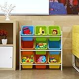 HOMFA Kinder Aufbewahrungsregal Kinderregal Spielzeugregal Spielzeugkiste Kommode mit 9 Kunststoffkästen für Spielzeug und Bücher Multi Toy Organizer 65*26.5*60cm - 4