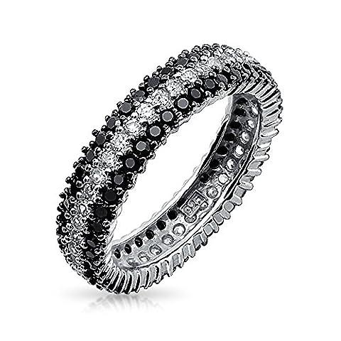 Bling Jewelry 925 Sterling Silver Round clair et noir onyx simulé CZ Bague Eternity
