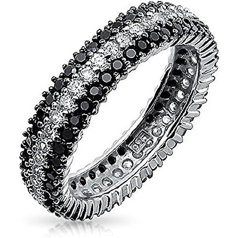 Bling Jewelry Plata Esterlina Cubic Zirconia Redonda Eternidad Anillo Blanco y Negro