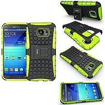 Funda Samsung Galaxy S6 , Galaxy S6 Funda , Fetrim soporte Proteccion Cáscara Cases delgada de golpes Doble Capa de Tough silicona TPU + plastico Anti Arañazos de Protectora para Samsung Galaxy S6 - Verde