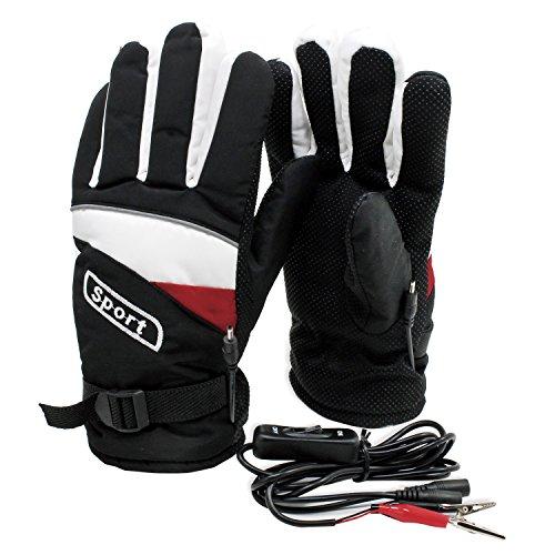 PsmGoods® Motorrad-Motorrad Beheizte Handschuhe 12V wasserdicht Frostschutz Schwarz (Beheizte Handschuhe Sichere)