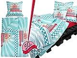 50er Jahre Style - 4 Dessins - Bettwaren oder Bettwäsche oder Zierkissen oder Kuscheldecken im Vintagelook - spritzig + jung + trendig, American Diner, Bettwäsche [ca. 80 x 80 + 135 x 200 cm]