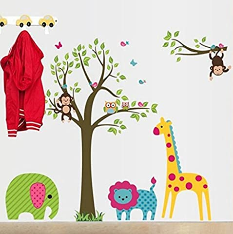 Wall stickers cartoon animals children bedroom bedroom living room background decoration three generations of removable creative wall stickers