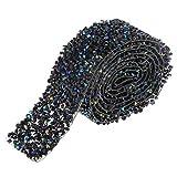 perfk 1-Yard Strassband selbstklebend zum Aufbügeln, Dekoband Strassborte Glitzerband DIY-Basteln für Party Hochzeit Dekoration - Schwarz Blau