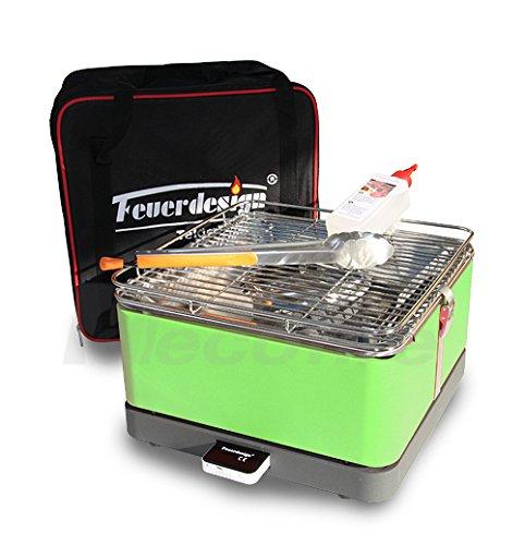 Holzkohle Tischgrill TEIDE - Rauchfrei - v. Feuerdesign - Grün, im Spar Pack mit Grill-Zubehör