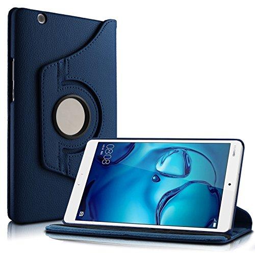 Huawei MediaPad M3 8.4 Hülle Case, Infiland PU Ledertasche lederhülle 360° Drehbarer Stand Smart Cover Case Schutzhülle Tasche Etui für Huawei MediaPad M3 8.4 Tablet-PC(mit Auto Schlaf / Wach Funktion)(Dunkleblau)