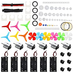 Sntieecr 6 Set DC Motors Kit, Mini Electric Motor 1.5-3V 15000RPM with 66 PCS Plastic Gears, AA Battery Holder Case, Motor Bracket, Shaft Propeller and Rocker Switch for DIY Toys Science Projects