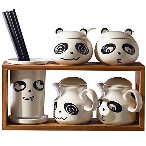 Sugar Bowl, Keramik Zuckerdose mit Zucker Löffel und Bambus Deckel für Haus und Küche, elegantes Design, weiß, niedlich Panda Salzstreuer, A