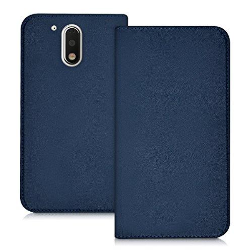 kwmobile Hülle Flip Case für > Motorola Moto G4 / Moto G4 Plus < - Aufklappbare Schutzhülle aus Kunstleder Tasche im Flip Cover Style in Dunkelblau