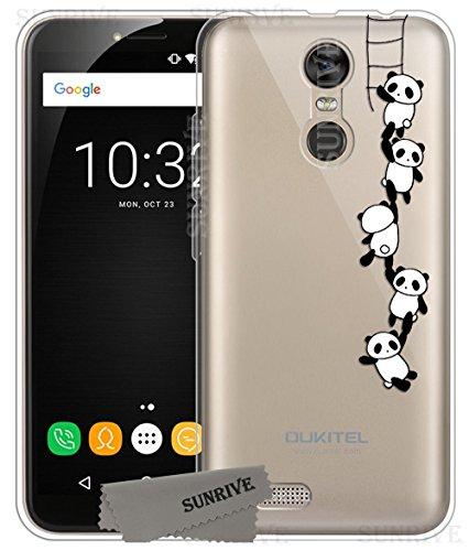 Sunrive Für OUKITEL C8 Hülle Silikon, Transparent Handyhülle Schutzhülle Etui Case Backcover für OUKITEL C8(TPU Panda 1)+Gratis Universal Eingabestift