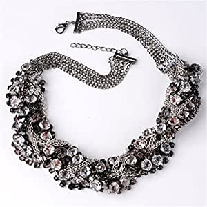 XXL Kristall Halskette Collier Kette Halskette Statement Luxus Chunky Choker