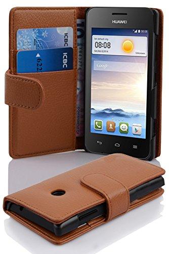 Cadorabo Hülle für Huawei Ascend Y330 Hülle in Cognac braun Handyhülle mit Kartenfach aus Struktriertem Kunstleder Case Cover Schutzhülle Etui Tasche Book Klapp Style Cognac-Braun