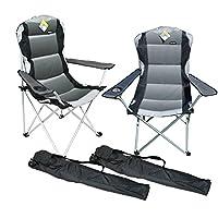 Marko Outdoor 2 x Grey Padded Folding Camping Chairs Fishing Festivals Garden SUMMER 10