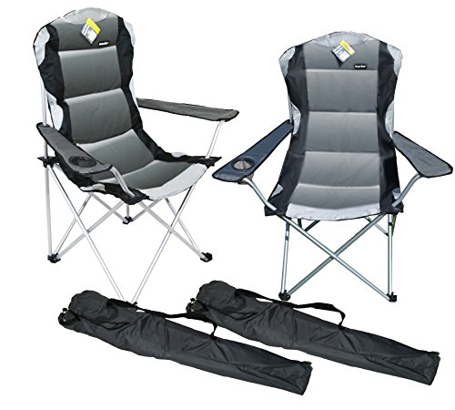 2 X Grey Luxury Padded Folding Camping Chairs Fishing Festivals Garden SUMMER