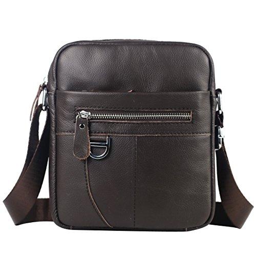 Leathario bolso mensajero hombre de piel sintetica bolsos bandolera caballeros de hombro cuero autentico messenger bag bolsa vintage pequeño desigual para diario de color cafe