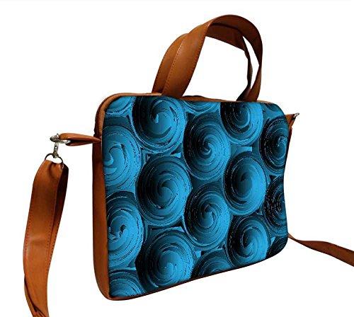 Snoogg Blue Spiral 38,1cm pollici a 39,4cm pollici a 39,6cm in ecopelle di notebook Slipcase Sleeve di trasporto e tracolla per MacBook Pro Acer Asus Dell HP Sony Toshiba