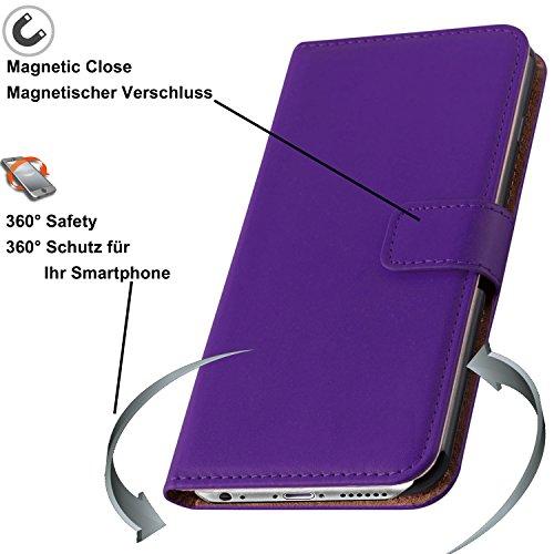 iMonster Tasche für iPhone 5C Book Style Case Design 2 Kartenfach Etui Hülle Wallet Stand Funktion Flip Cover Handyhülle Handy Schutzhülle Bumper Schutz Zubehör Handytasche Pink LiLA