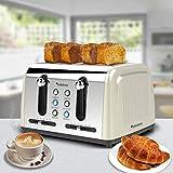 4 Scheiben Langschlitz Toaster mit 1500W, Aufwärm- / Auftaufunktion, inkl. Brötchenaufsatz Krümelschublade, Retro Design - 3