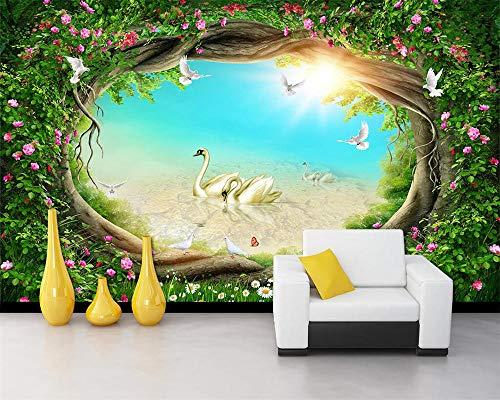 HDDNZH Wandbild,Custom 3D Großes Wandbild Tapeten Traum Märchen Wald Garten Blumen Rattan Gras Fernseher Sofa Hintergrund Wand Wohnzimmer Schlafzimmer Home Decor -