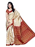 Mimosa Women's Silk Saree (65-Hlfwhitemarun,Multi-Coloured,Free Size)