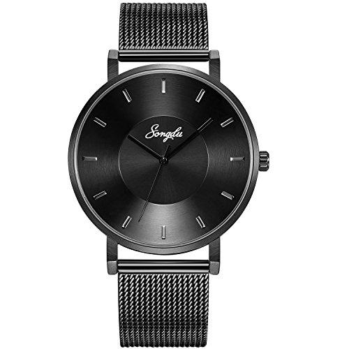 SONGDU Herren Unisex Schwarz Uhren Analog Quarz Gents Armbanduhr Wasserdicht Biege den zeiger (Schwarz)