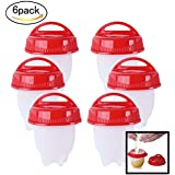 Hojo Set Of 6 Rapid Egg Cooker Food Grade Silicone Poachers Home Egg Boiler Hard And Soft Eggs Boiled Maker Without The Shell High Temperature Resistant BPA Free
