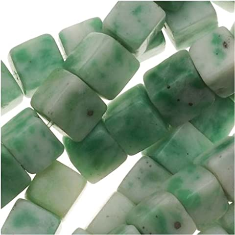 Green China Jade 4mm x 4mm Square Cube Beads / 15.5 Inch Strand