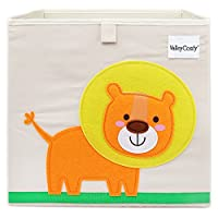 Valleycomfy Storage Box For Kids Toy Box Foldable Cartoon Cube Organizer Closet Basket For Clothes, Shoes, Toys And Dots 33x33x33cm (Lion)