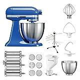 KitchenAid Küchenmaschine Mini, 5KSM3311XE, Pasta Paket inkl. TOP Zubehör: Nudelvorsatz mit 3 Walzen, Pastapresse (kurz) mit 6 Aufsätzen, Nudeltrockner und Standardzubehör (Twilight Blue)