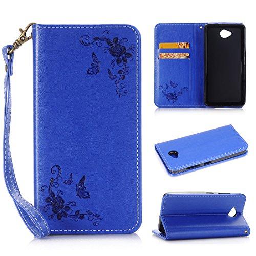 Nancen - Cover per Apple Iphone 5C (4pollici), fiore e farfalla modello in pelle di lusso protezione, custodia Flip Cover con funzione di supporto e 2slot per carte
