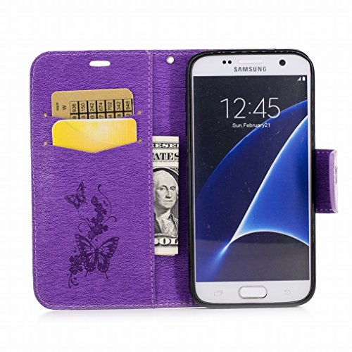 Custodia Samsung Galaxy S7 / G930 Cover, Ougger Farfalla Stampa Portafoglio PU Pelle Magnetico Morbido Silicone Flip Bumper Protettivo Gomma Shell Borsa Custodie con Slot per Schede (Rosa) Viola