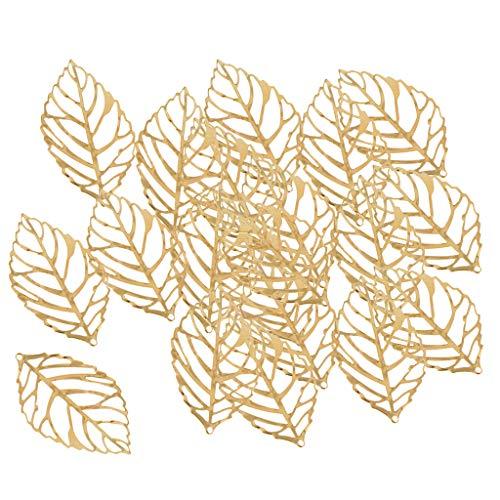 IPOTCH 30 Stücke Tibet Silber Blatt Charm Anhänger zum Basteln für Armband Halskette Ohrring Gemischte Charms - Gold