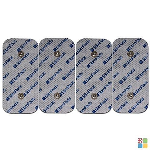 StimPads® für Compex®, 4 Stück à 50x100mm, garantiert 100% mit Compex® kompatibel, leistungsstarke und langlebige Elektroden mit ZWEI Druckknöpfen! Sparen Sie 65% im Vergleich zum Original!