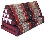 Wilai GmbH Coussin Thailandais triangle XXL assise 2 plis, détente, matelas, kapok, fauteuil, canapé, jardin, plage marron/rouge (82317)