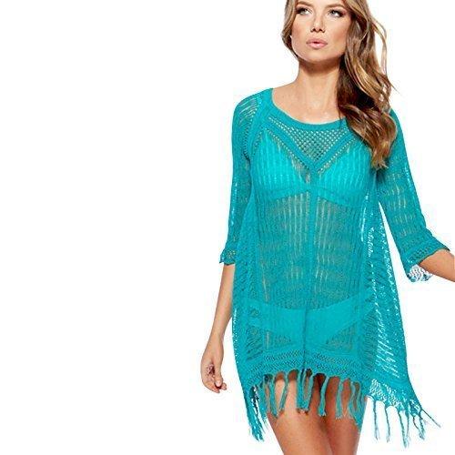 Live It Style It Damen Hohl Bikini Bademode Häkel Sexy Gestrickt Bedecken Kleid Beachwear Top Blau